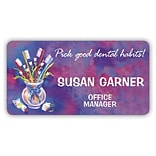 Custom Printed Medical Arts Press® Full-Color Dental Name Badges; Standard, Toothbrushes in a Cup