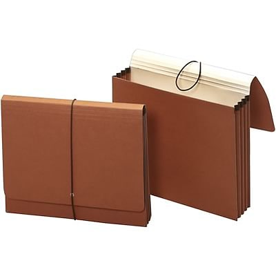 Quill Brand® 100% Recycled Expanding Wallets with Flap and Elastic Cord Closure, 5-1/4 Expansion, Letter, 10/Bx (71073GR)