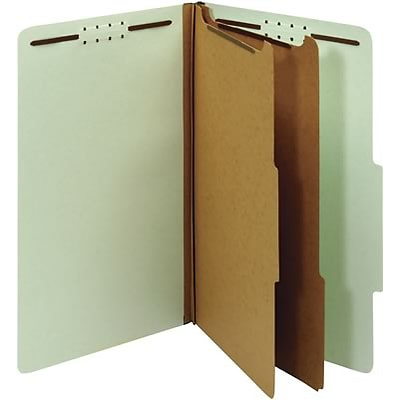 Quill Brand® Recycled Pressboard Classification Folders, 2-Partitions, 6-Fasteners, Legal, Green, 15/Box (761901)