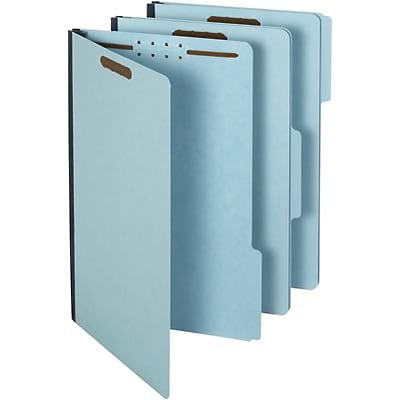 Quill® Brand Recycled Heavy-duty Pressboard Folders; 25 pt., 2 Fasteners, 1/3 Cut Tabs, 3 Gusset, Legal Size, Blue, 25/BX