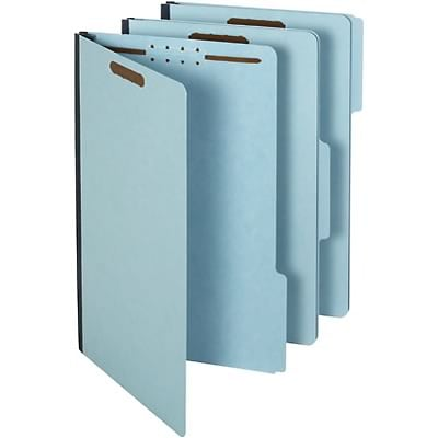 Quill Brand® Heavy-Duty 3-Tab Pressboard File Folders with 2 Gusset, 2-Fasteners, Legal, Assorted Tabs, Blue, 25/Bx