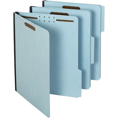 Quill Brand® Heavy-Duty 3-Tab Pressboard File Folders with 1 Gusset, 2-Fasteners, Letter, Assorted Tabs, Blue, 25/Bx