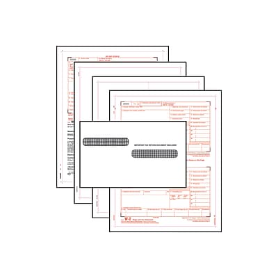 W-2 Six-Part Blank Laser Set with Self-Seal Envelopes; 25-Pack