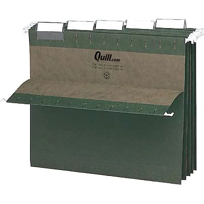 Quill Brand® Standard Green 100% Recycled Hanging File Folders; 1/5-Cut Adjustable Tabs, Letter Size, 2 expansion, 50/Case