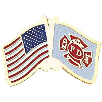 Patriotic Services Lapel Pins; Flag Fire Department