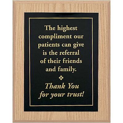 Medical Arts Press® Wood Office Message Plaques; Referral Thank You