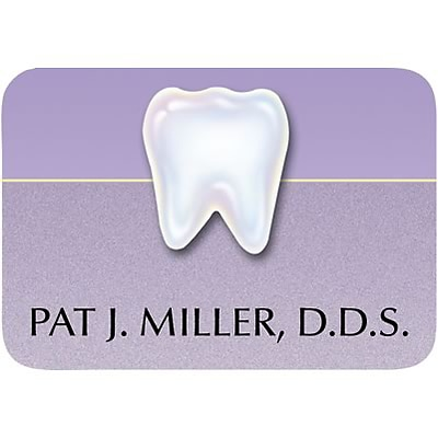 Custom Printed Medical Arts Press® Full-Color Dental Name Badges; Standard, Shimmer Tooth