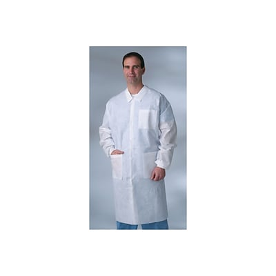 Medline Heavyweight Disposable Lab Coats; X-Large, White