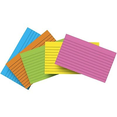 Top Notch Assorted Brite Index Cards; Lined, 4x6
