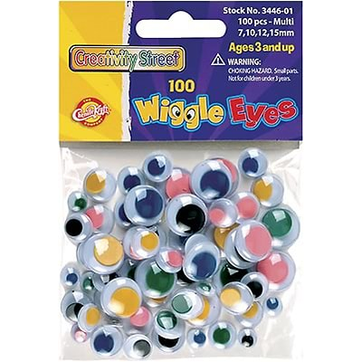 Chenille Kraft® Wiggle Eyes; Multi-Colored, Assorted Sizes