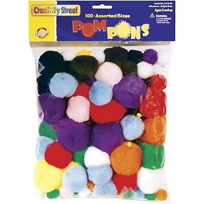 Creativity Street® Pom Pons, Assorted Bright Hues, 100/Pieces (CK-811201)