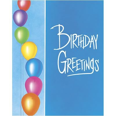 Medical Arts Press® Birthday Greeting Cards; Left Balloons, Blank Inside