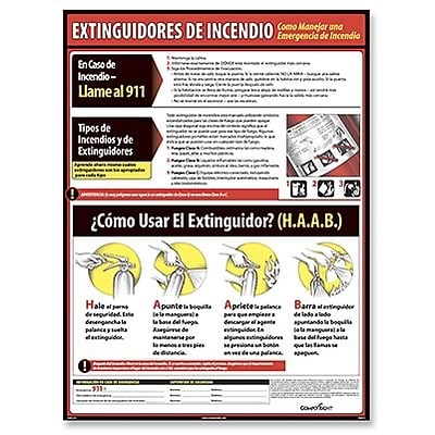 ComplyRight™ Lifesaving Posters; Fire Extinguisher Safety, Spanish Version