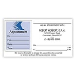 Medical Arts Press® Single-Imprint Peel-Off Sticker Appointment Cards; Blue Foot