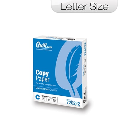 Quill Brand Copy Paper, 8 1/2 x 11, 92 Bright, 20 LB, 1 Ream of 500 Sheets