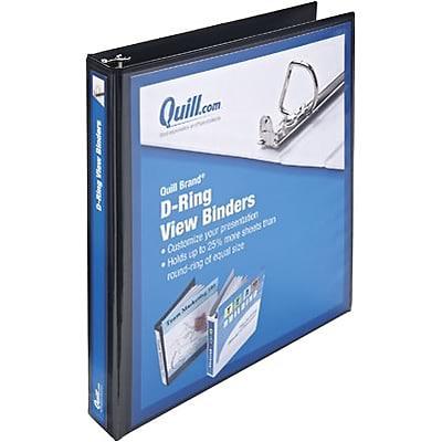 Quill Brand® 1 D-Ring Binder; View, Black, 3-Ring