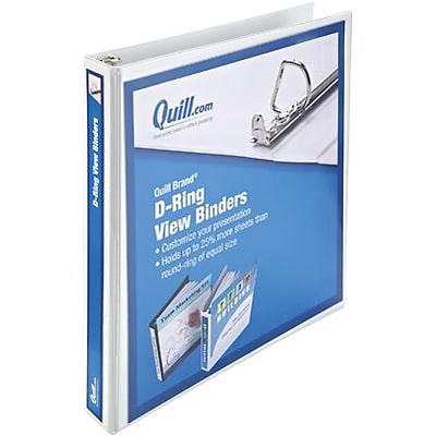 Quill Brand® 1 D-Ring Binder; View, White, 3-Ring
