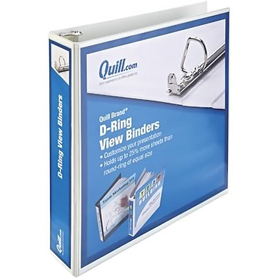Quill Brand® 1-1/2 D-Ring Binder; View, White, 3-Ring