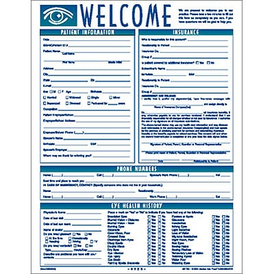 Medical Arts Press® Welcome Registration Form,  Eye Graphic