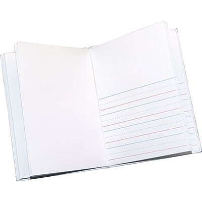 Ashley Productions Blank Journals; White Hardcover, Black Lines,  8x6