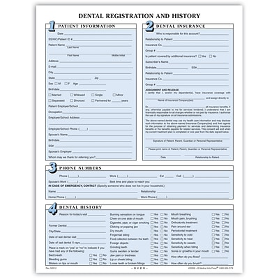 Medical Arts Press® Dental Registration Forms Featuring Updates Section; 2-Hole Punched, Sky Blue