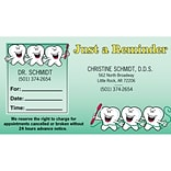 Medical Arts Press® Dual-Imprint Peel-Off Sticker Appointment Cards; Row of Teeth
