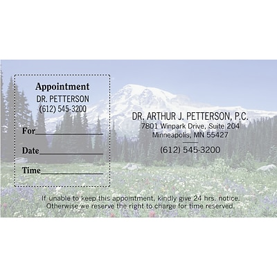 Medical Arts Press® Dual-Imprint Peel-Off Sticker Appointment Cards; Mountain Meadow