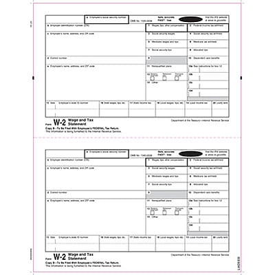 W-2 Individual Forms, Employee Copy B Only (File with Employee Federal Return), 2 Forms Per Sheet