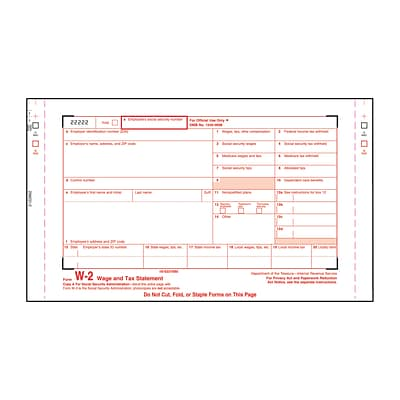 W-2 Forms; IRS Approved, Single-Width and Continuous-Feed; 6 Parts