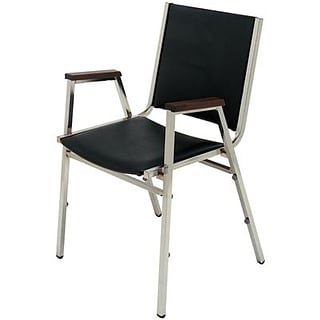 MLP 1-1/2 Grey/Chrome w/Arm Stacking Chair