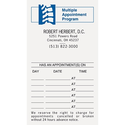 medical arts press 2 color chiropractic appointment cards spine multi - Appointment Cards