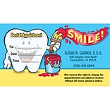 Medical Arts Press® Single-Imprint Peel-Off Sticker Appointment Cards; Standard, Smiley Tooth