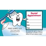Medical Arts Press® Single-Imprint Peel-Off Sticker Appointment Cards; Scrubbing Tooth