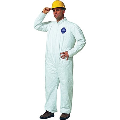 DuPont® Tyvek® Coverall, M Size, Front Zipper, White, Serged Seams, 25/CT