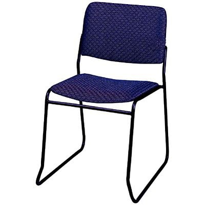 MLP Sled-Base Stack Chair without Arms; Navy Blue Fabric, Black Frame