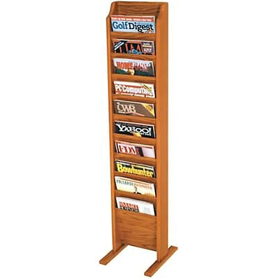 Wooden Mallet Solid Wood Literature Display Units; 49x12x12, Oak, 10-Pocket, Free-Standing