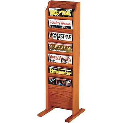 Wooden Mallet Solid Wood Literature Display Units; 37x12x12, Oak, 7-Pocket, Free-Standing