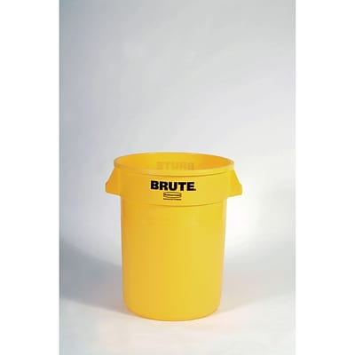Rubbermaid® Round Brute® Receptacle, w/o Lid, Yellow, 32 gal./121.12 liters