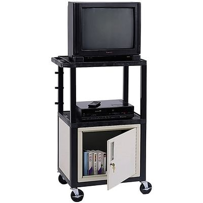 H. Wilson® 42H Deluxe Mobile Carts w/Cabinet; Grey