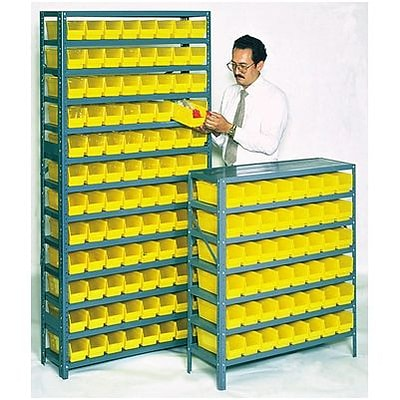 Edsal® Steel Pick Rack with Flat Plastic Parts Bins; 12 Shelves, 96 Bins, 75Hx36Wx12D, Gray/Yellow