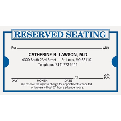medical arts press 2 color medical appointment cards reserved seating - Appointment Cards