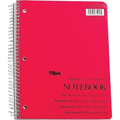 Oxford 5-Subject Notebook, 8 x 10 1/2, Wide Ruled, 180 Sheets, Assorted Colors (65058)