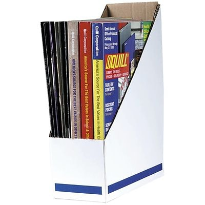 Quill® Corrugated Magazine Files; White, Letter Sized, 12Hx4-1/8Wx9-1/2D