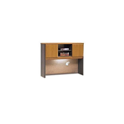 Bush Business Cubix 48W Hutch, Natural Cherry/Slate, Installed