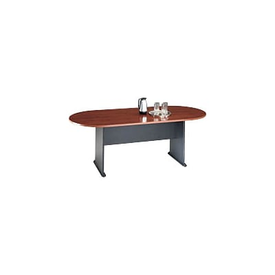 Bush Business Westfield 82W x 35D Racetrack Conference Table, Hansen Cherry/Graphite Gray, Installed