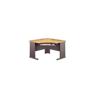 Bush Business Cubix 48W Corner Desk, Euro Beech/Slate, Installed