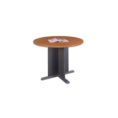 Bush Business Westfield 42W Round Conference Table; Natural Cherry/Graphite Gray, Installed