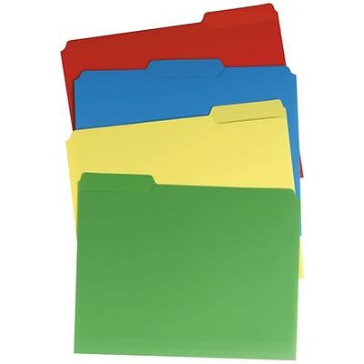 Quill Brand® 3-Tab Plastic Colored File Folders, Letter, Assorted Tabs, Assorted Colors, 24/Bx (11403-QL)