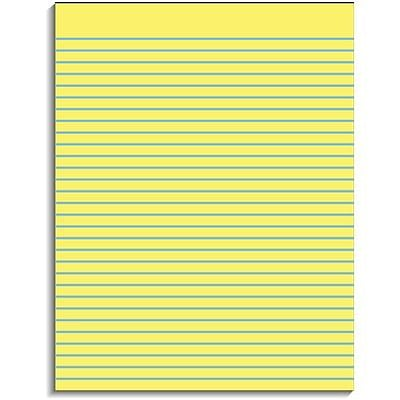 Quill Brand® Glue-Top Ruled Legal Pad 8-1/2x11; Wide Ruled, Canary Yellow, 50 Sheets/Pad, 72 Pack
