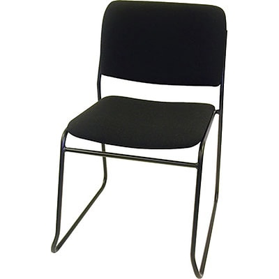 MLP Sled-Base Stack Chair without Arms; Black Fabric, Black Frame